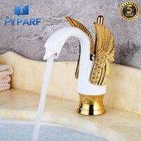 FYPARF Hotel lujo cobre Mezclador de Baño blanco y oro Cisne grifo de lavabo grifo mezclador grifos de agua caliente fregadero B1005