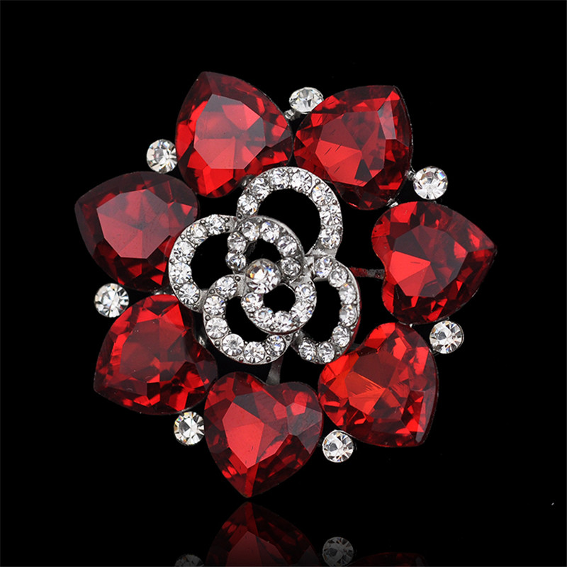 2018 7color Heart of Ocean Large Women rhinestone  Royal Red Crystal Wedding Brooch  Elegant Prom Party Gift Jewelry