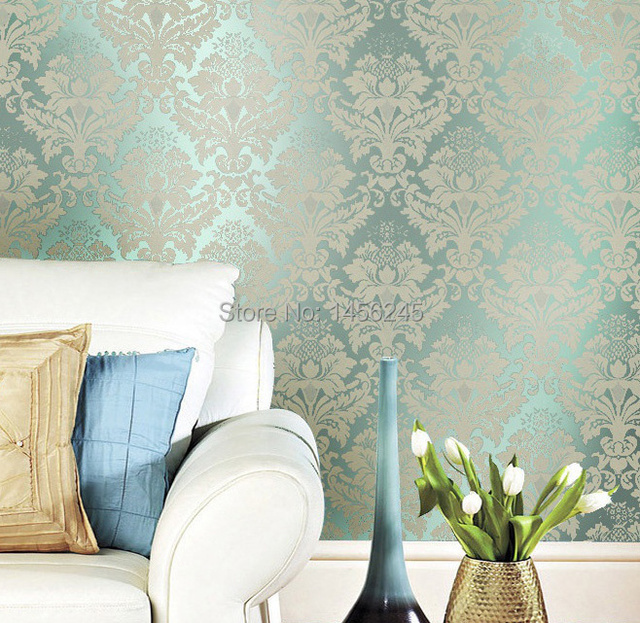 Non Woven Clic Metallic Flock Damask Wallpaper Glitter Green Background Wall Wallcovering Living Room
