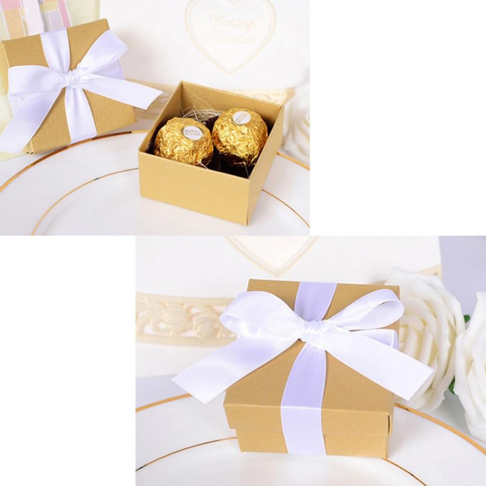 10pcs Romantic Wedding Favor Blue Paper Candy Box +Ribbon DIY Candy ...