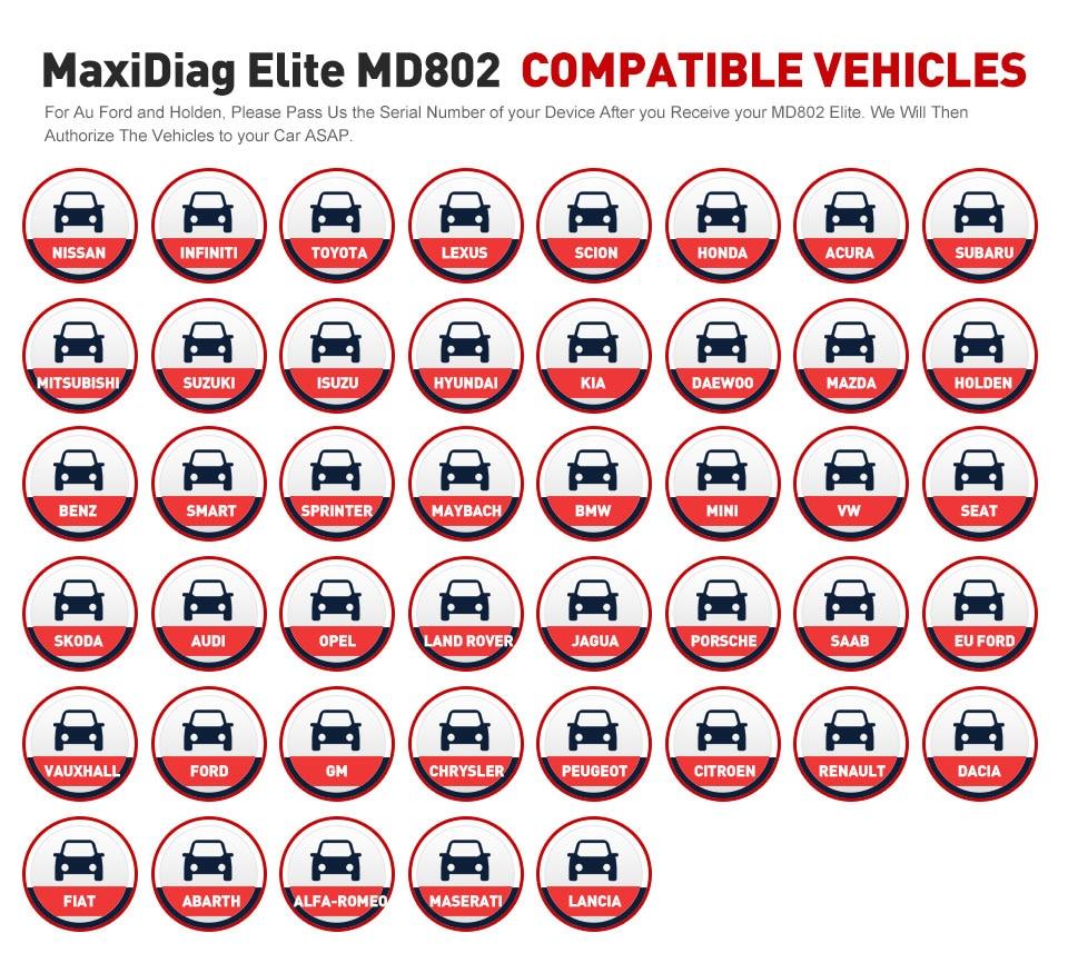 Image 2 - Autel MD802 OBD2 Scanner EOBD Scan Tool for Engine Transmission ABS Airbag EPB Oil Service Reset Code Reader Diagnostic Tool