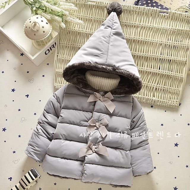 Winter Warm Children Coat Baby Big Hats Bow Gilrs Fleece Warm Jackets Kids Girl Infant Parkas Princess Snow Wear Outerwear Coat