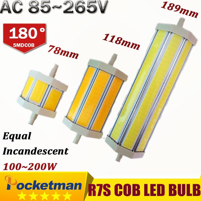 R7S COB led bulb r7s led lights 78mm 118mm 135mm 189mm 10W 15W 18W 20W  lamp AC110V 127V 220V 265V replace halogen floodlight 2017 new r7s led 118mm 78mm dimmable instead of halogen lamp cob 220v 110v 230v energy saving powerful r7s led bulb 15w 30w