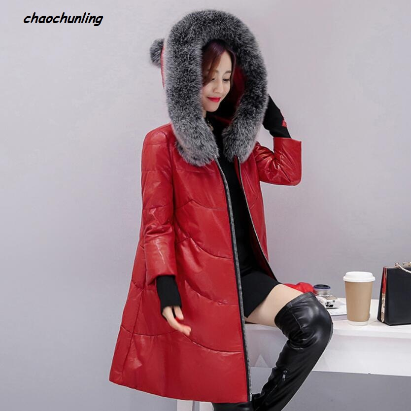 2017 New Lady Coats Winter Jacket Leather Coat High Quality And Fashion Women Thick Coats Thermal Super Warm With Hats Jacket lady thick jacket 2017 new autumn and winter england style high quality women leather100
