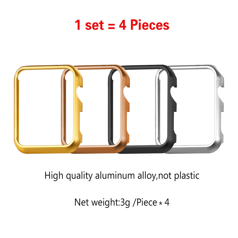 Big Sale 4 Pcs Set Protective Case for Apple Watch Series 2 & 1 42mm/38mm Platinum/Yellow Gold/Rose Gold Plated Black New S1756