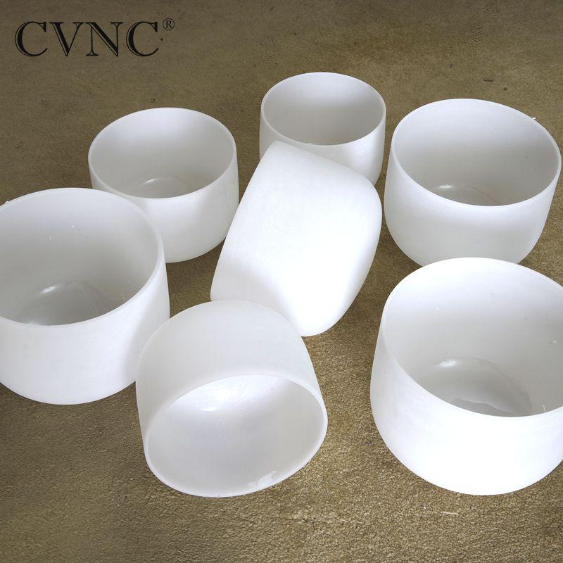 CVNC Livraison gratuite coût 432Hz ou 440Hz 7 -14 Chakra tuned CDEFGAB ensemble de 7 pièces Givré Cristal de Quartz bol chantant