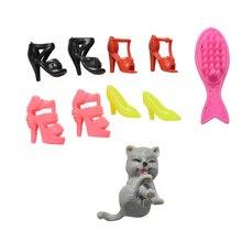 Dolls Accessories Shoes Plastic for Fish-Shape Comb Cat Toys Blister-Toy 1set Kids