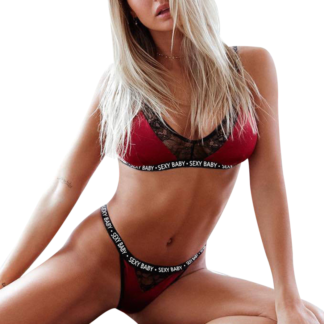 bf46eade3 Women Sexy Lingerie Letters Bra+Panties Set Lace Print Women S Underwear  Bra And Thong Brief