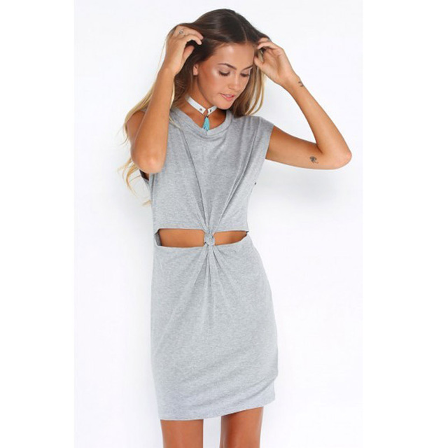 483ee13a9bd4 2016 Grey Sleeveless Cut Out Knot Tie Cotton Jersey Casual Summer Beach  Party Clubbing Outfits T Shirt Dress Sundress for Women