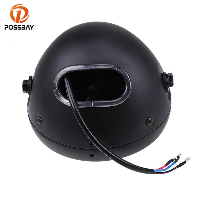 POSSBAY 12V Halogen Motorcycle Headlight Headlamp Front Universal 6'' 35W Head Light For Honda Yamaha Suzuki Harley Cafe Racer