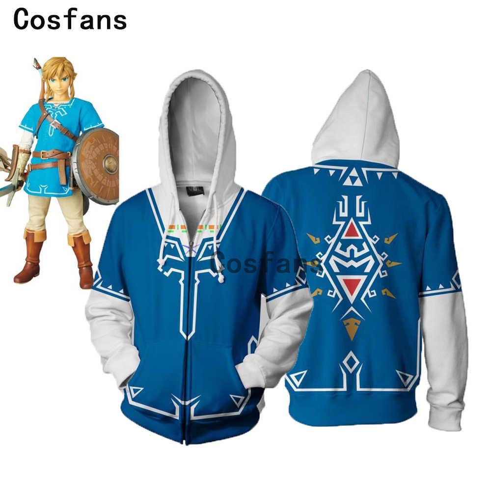 COSFANS New The Legend Of Zelda Cosplay Costume Set Fighting Sweater Game Skyward Sword Link Hooded Zipper Jacket for men women