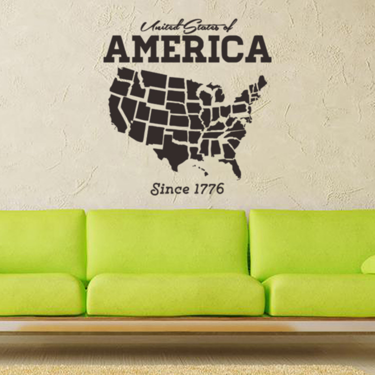 PVC wall stickers United States map Wall Sticker creative art stickers study the living Kids room decorative stickers