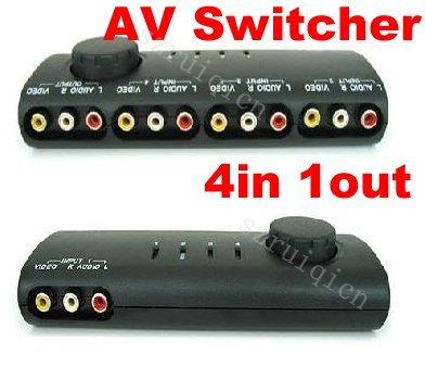 4 Way Audio Video AV RCA Switch Switcher SplitterCablein Audio