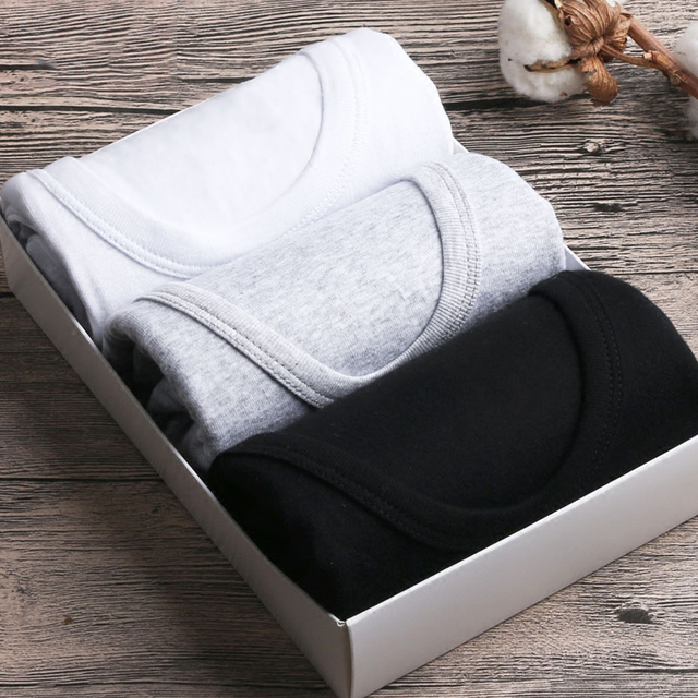 Men's Undershirt Bottoming Shirt 3 Pcs Cotton Men Casual Underwear Shirt Soft Breathable Slim Male Undershirt Top Underwear Men