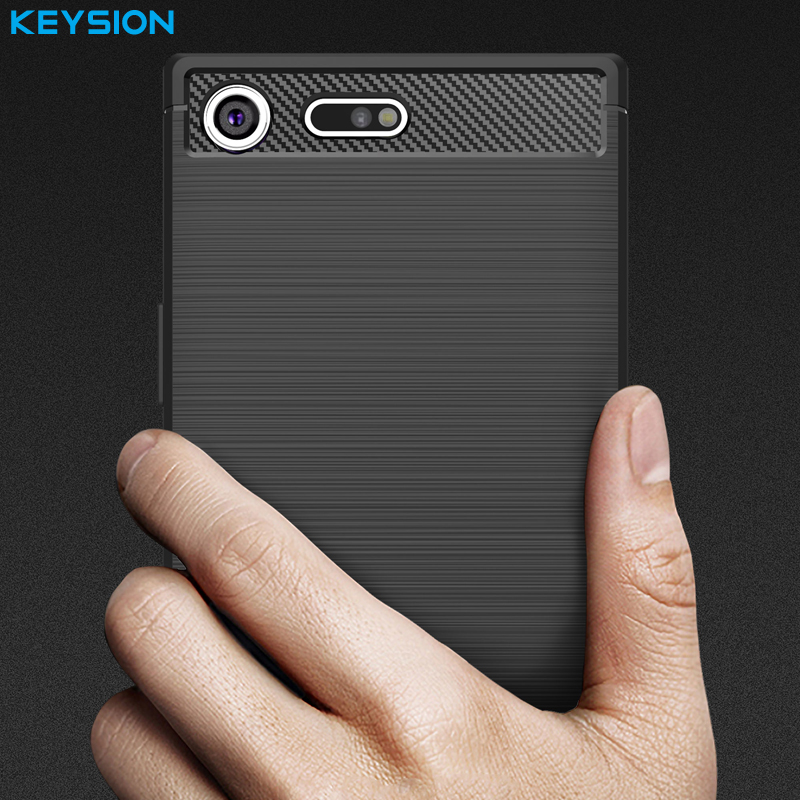 KEYSION Case Xz Premium Sony Xperia Soft-Cover Carbon-Fibre-Brushed Silicone For TPU