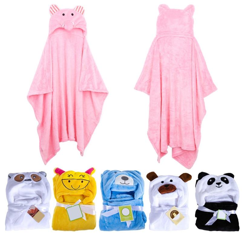 Baby Bathrobe  Cute Animal Panda Flannel Cartoon Baby Kids Hooded Bath Towel Toddler Blankets 6 Animals with Hook for Optional