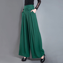 free shipping autumn spring Culottes casual wide leg pants black cuttanee gentle women leg pants elegant female trouser