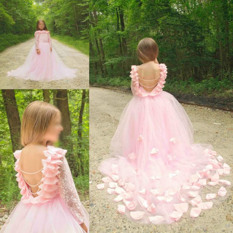 2017 Backless Hot Junior Girls Pageant Gowns Lace Long Sleeves Tulle Princess Formal Party Dresses Pink Flower Girls Dresses