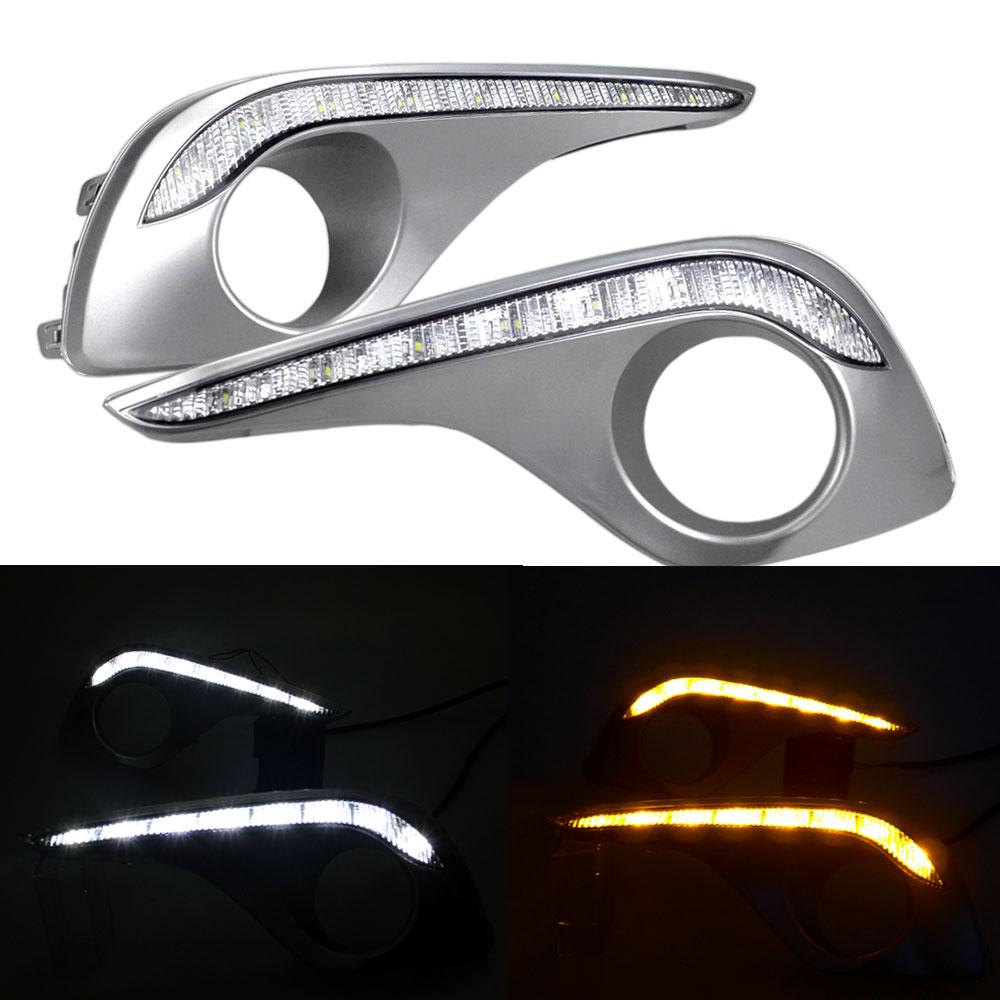 Daytime Running Light DRL for Toyota High Lander 2011 2012 2013 2014 2015 Left & Right Fog Light Cover with Relay