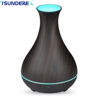 TSUNDERE L 400ml Essential Oil Diffuser Ultrasonic Wood Grain Aromatherapy Diffuser With 7 Color LED Lights