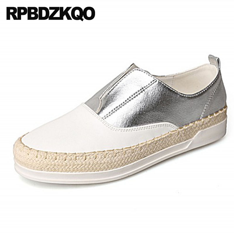Designer Shoes China Espadrilles Slip On Platform Creepers Flats Thick Sole Silver Hemp Fisherman White Women Brand Sneakers happy hop надувной батут цитадель 3 в 1 9021
