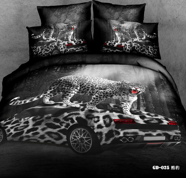 Queen Size Race Car Bed | 3D Leopard Print Race Car Bedding  Sets Queen King Size Duvet Cover Bedsheet Quilt Bed Linen Fitted Sheet  Grey Black