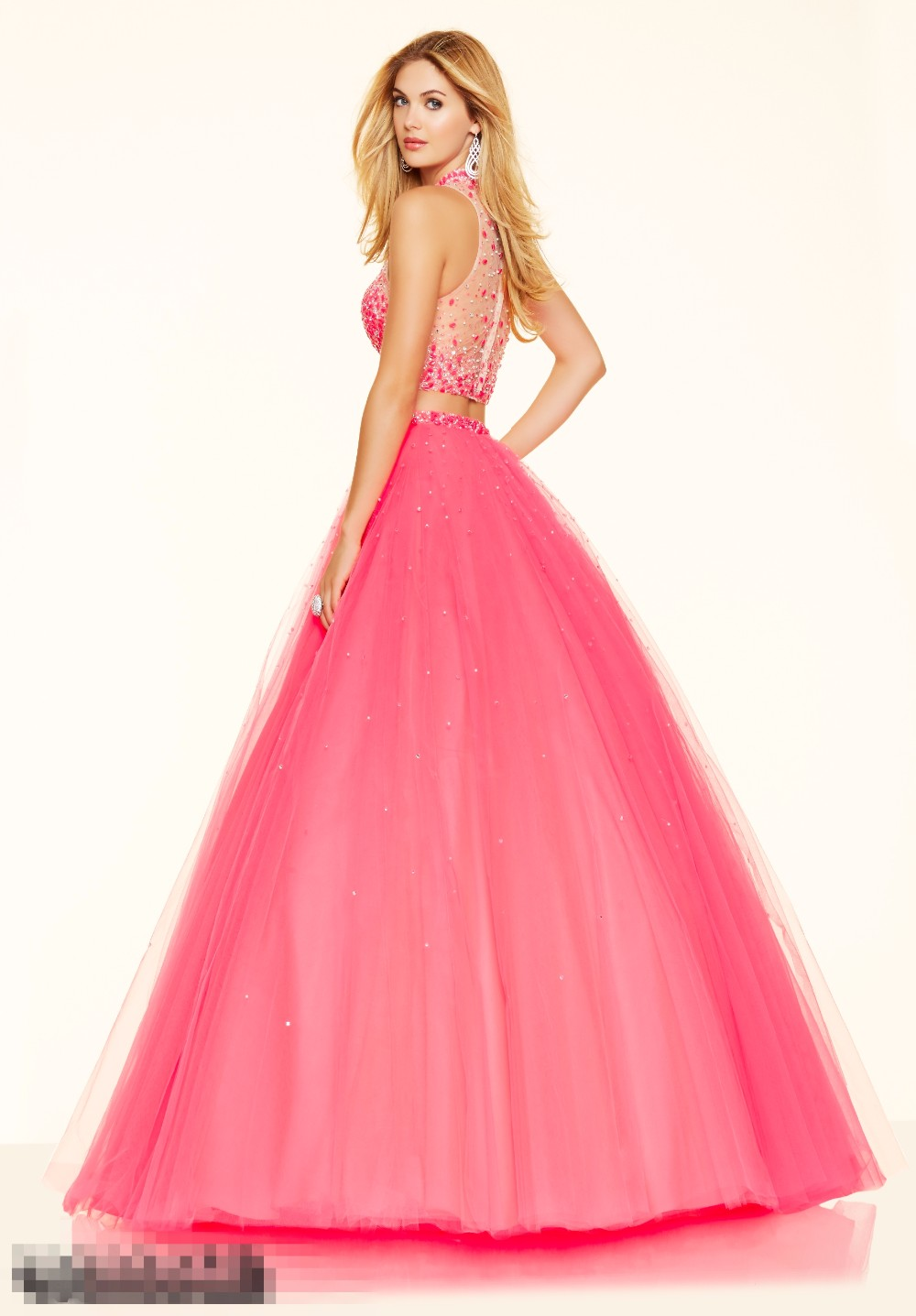 Hot Pink Two Pieces Quinceanera Dresses Cheap Long Sparkly Crystals ...