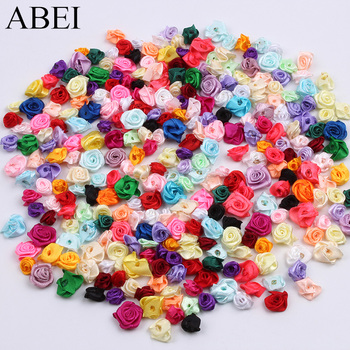 300pcs 15mm Mix Color small rose flower mini handmade satin ribbon head wedding scrapbooking decoration clothes accessories
