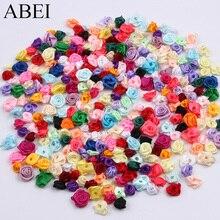 300pcs 15mm Mix Kleur kleine rose flower mini handgemaakte satijnen lint rose head wedding scrapbooking decoratie kleding accessoires