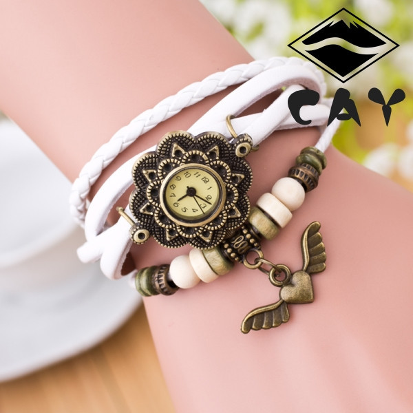 high quality ladies bracelet vintage weaved wrist font b watch b font of flyed heart charm