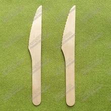 18335#300 шт одноразовые деревянные ножи 6 дюймов 16 см деревянная посуда для еды и стейка в западном стиле ножи