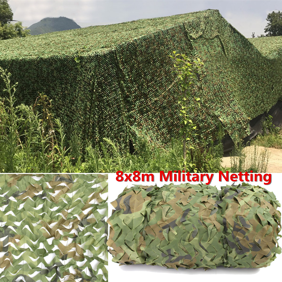 8X8m Woodland Camouflage Netting Military Army Camo Hunting Camp Cover Net Outdoor Camping Sun Shelter8X8m Woodland Camouflage Netting Military Army Camo Hunting Camp Cover Net Outdoor Camping Sun Shelter