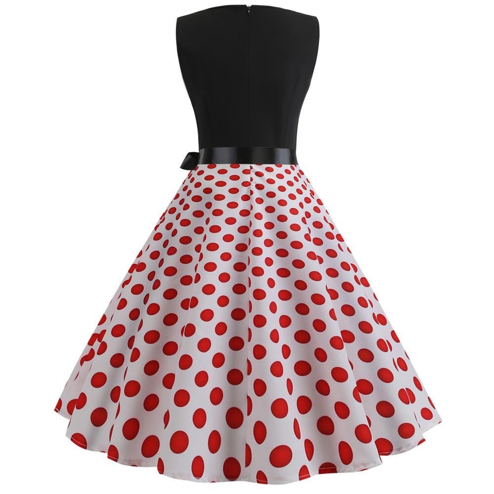 HTB1IpDIbdfvK1RjSszhq6AcGFXaW Women Summer Dresses 2019 Robe Vintage 1950s 60s Pin Up Big Swing Party Work Wear Rockabilly Dress Black Polka Dot Vestidos