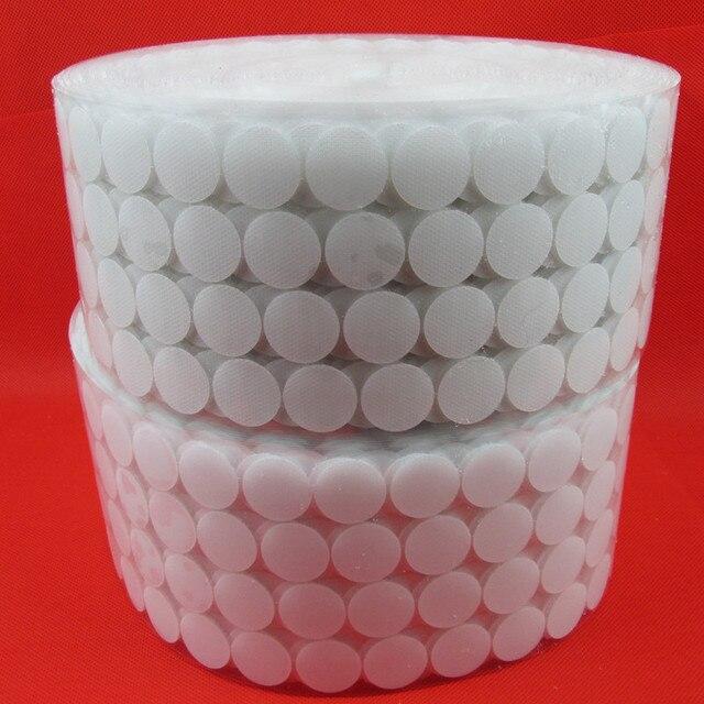 10mm-25mm 100 Paires Blanc Magique Nylon Autocollant Double Face Adhésif Crochets Boucles Disques Blanc Ronde Fermeture ruban À Coudre Craf