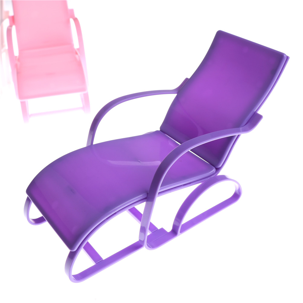 Plastic Lounge Chair Us 1 9 16 Off 1pc 4 Colors Plastic Beach Lounge Chair Mini Rocking Chair Kawaii Furniture Accessories For Dolls Decoration Baby Girls Toys In Dolls