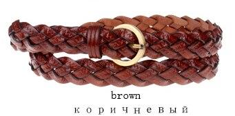 Горячая распродажа бренд ткачество из натуральной кожи тонкий пояса для женщин украшения фраке cummerbunds цвет полная длина 110 см - Цвет: Коричневый