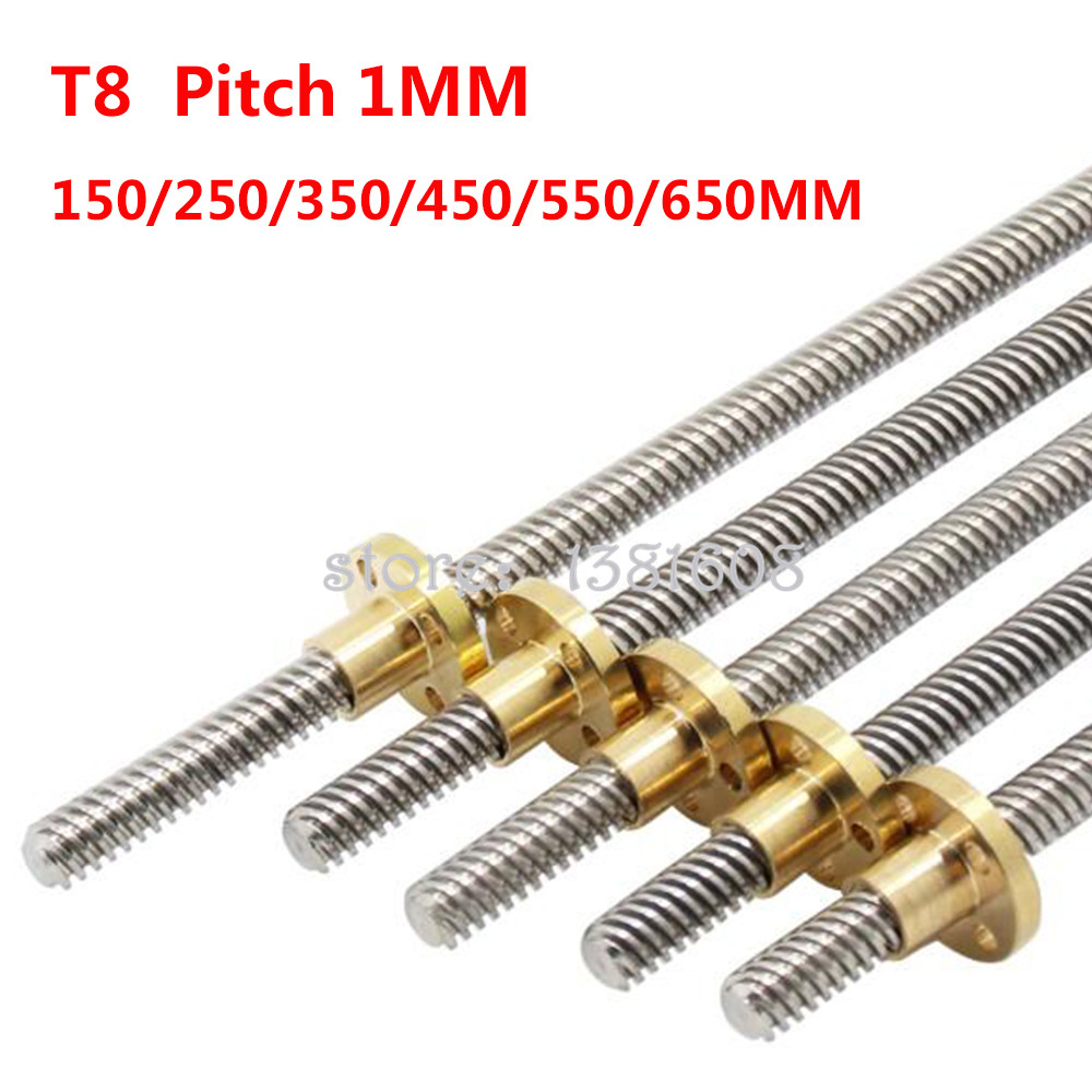 1PC T8 Lead Screw Dia 8mm Pitch 1mm Lead 1mm Length 150MM-650MM For 3D Printer & CNC