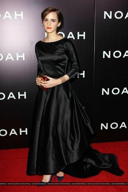 2017 Oscar Emma Watson Negro completo mangas largas elegante y recatada red carpet vestidos backless de la alfombra Roja vestidos de la celebridad