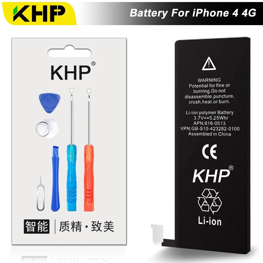 NEW 2017 100% Original KHP Bateria Do Telefone Para o iphone 4 4G Bateria 1420 mAh Repair Tool 0 Ciclo de Substituição Da Bateria Móvel adesivo