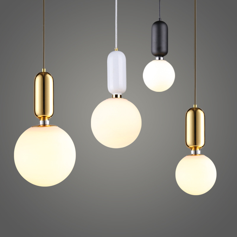 Modern Simple Led Pendant Lights With Alloy For Cafe Bar Restaurant Home Deco Hanging Lamp Nordic Drop Light Fixture Glass Ball
