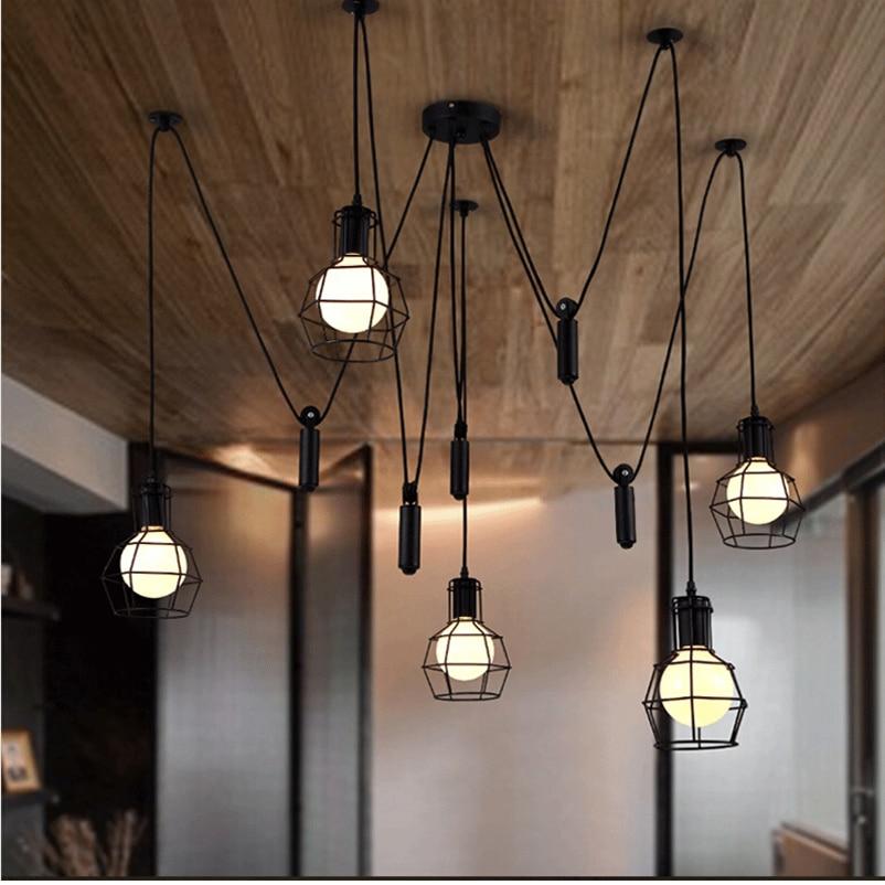 Vintage Loft clothing store cafe restaurant bar study office living room spider Chandelier Nordic personality pendant light lamp リビング シャンデリア