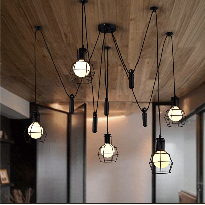 Vintage Loft Clothing Store Cafe Restaurant Chandelier Nordic Personality Bar Study Office Living Room Spider Pendant Lamp