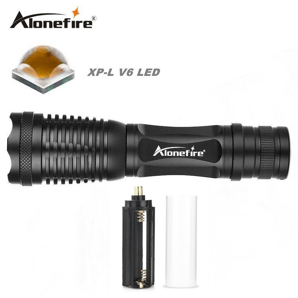 AloneFire E007 powerful CREE XP-L V6 led flashlight zoomable ultra bright flashlight led torch adjustable V6 led flashlight lamp