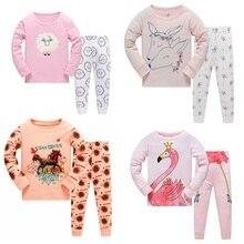 Купить с кэшбэком NEW 2019 girlys nightwear girls family christmas pajamas cartoon kids pajama sets,children sleepwear toddler baby pyjamas 3T-8T