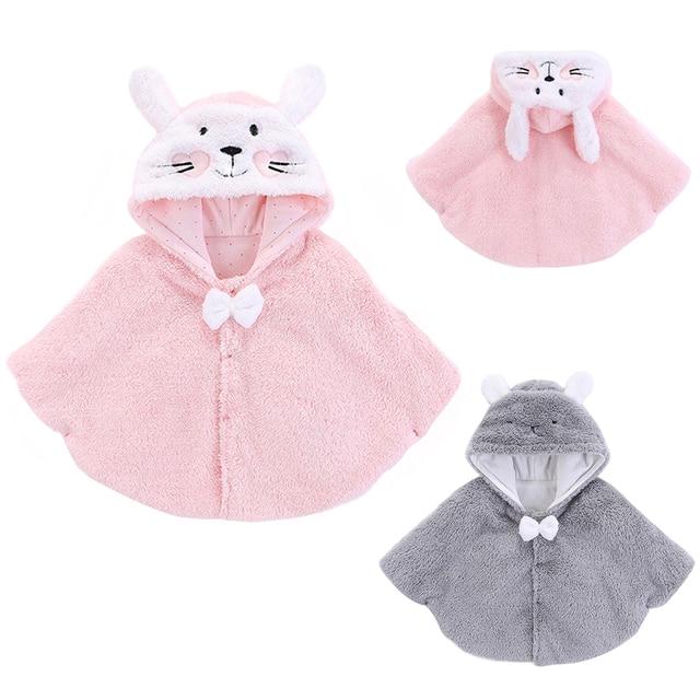f97a0f08ee2c Baby Girls Winter Hooded Cloak Coat Kids Cotton Fleece Warm Cape ...