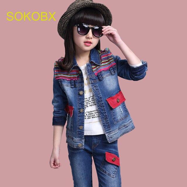 b935c90e314 Big Girls Sports Suit Teenage Autumn Girls Kids Denim Tracksuit Patchwork +  Cowboy Pants 2pcs Children Clothing