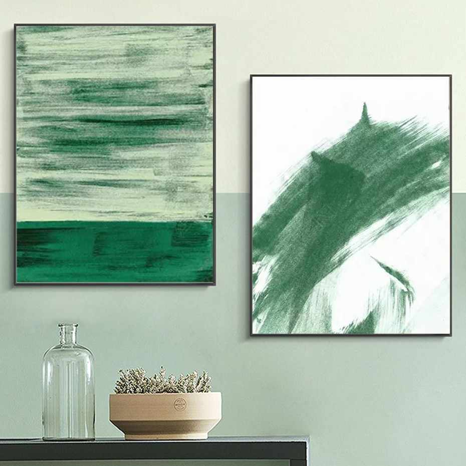 Abstract Green Watercolor Posters Prints on Canvas Painting Wall Art POP Pictures for Living Room Home Office Decor