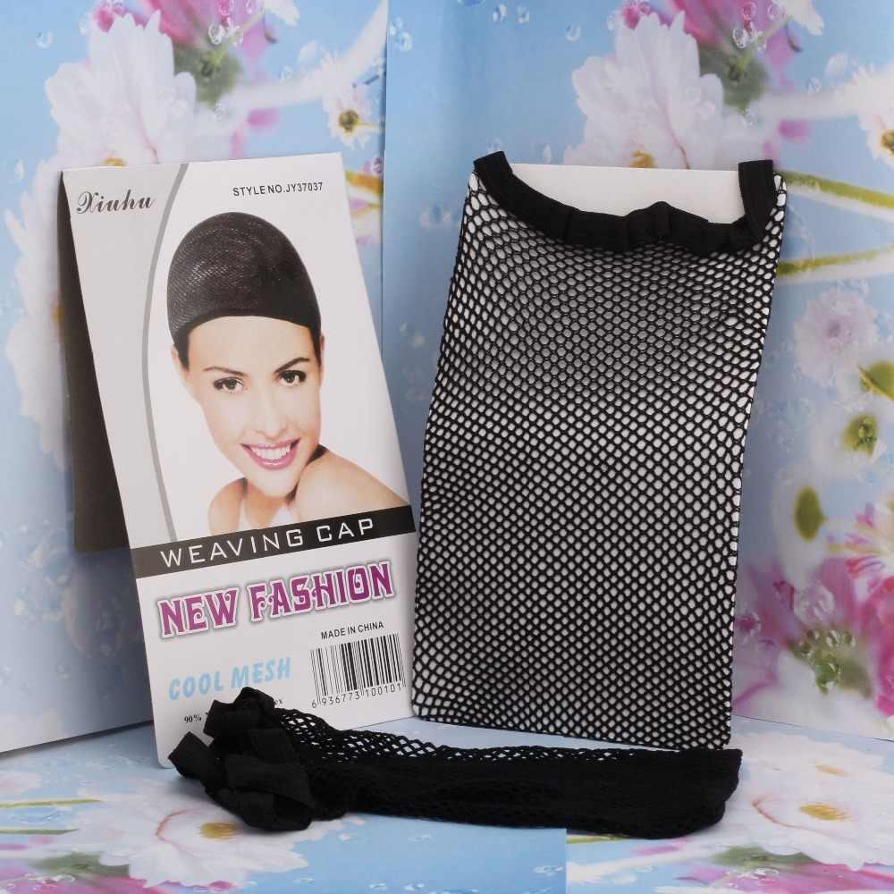 1 قطعة أسود اللون ديلوكس شعر مستعار غطاء مرونة عالية نسيج الشبكة غطاء قابل للتعديل تمتد الشعر عقال