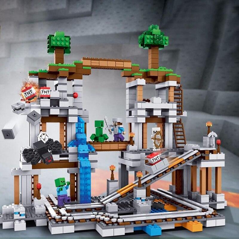 lepin Minecraft 922Pcs The Mine My world Figure Kids Educational Building Blocks Bricks Toys For Children Gift legoing 21118 1