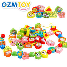 26pcs/SET Wooden Animal Fruit Block stringing beaded Toys For Children Learning & Education Colorful Products Kids Toy